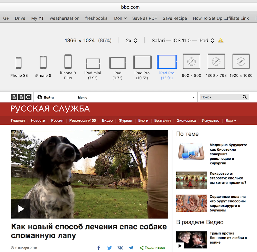 Bbc russian video responsive design mode