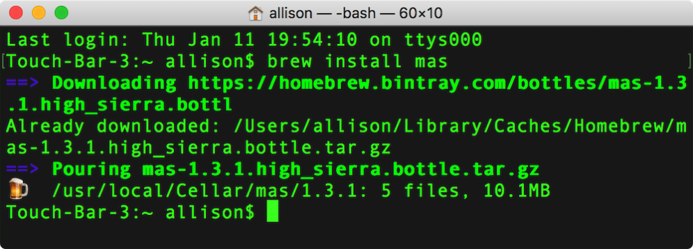Brew install mas in terminal