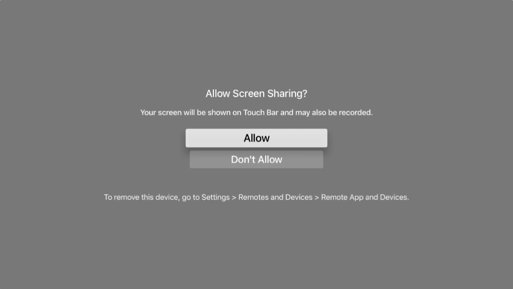 Apple TV allow screen sharing