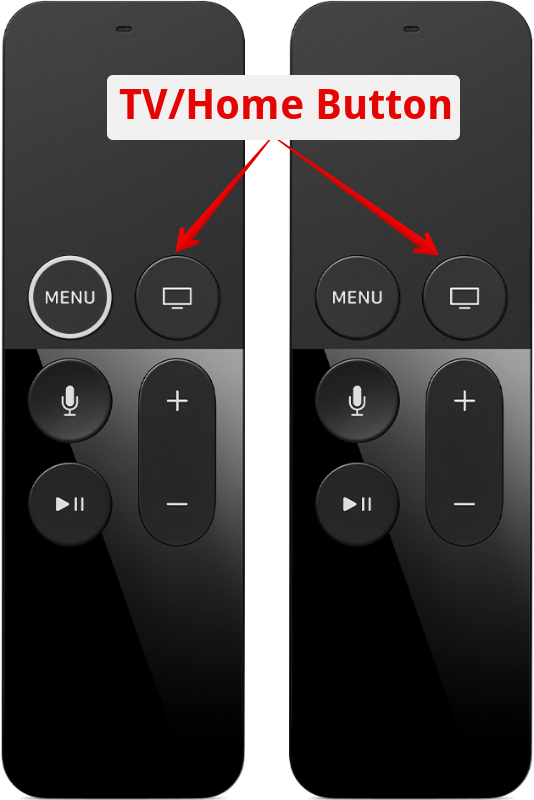 Apple TV remote showing home button