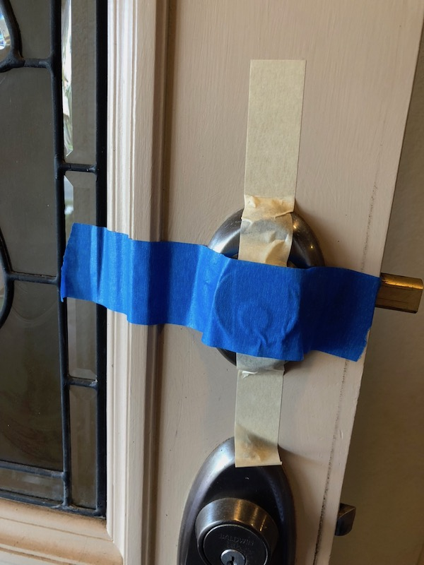 August Smart Lock tape on outside
