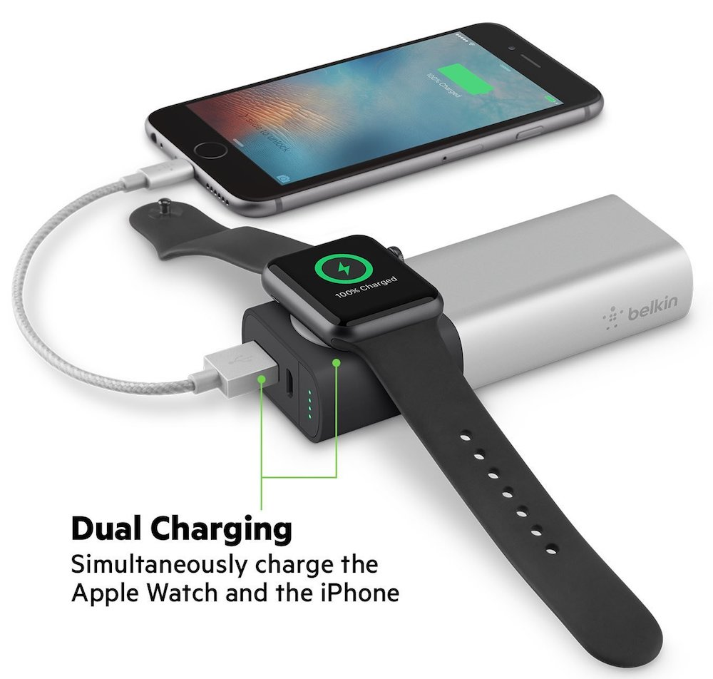 Belkin valet power pack showing phone and watch charging