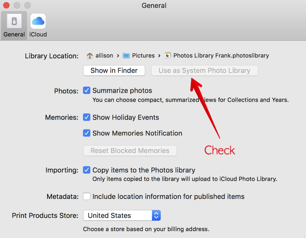 Choose Use as System Photo Library in Photos Preferences