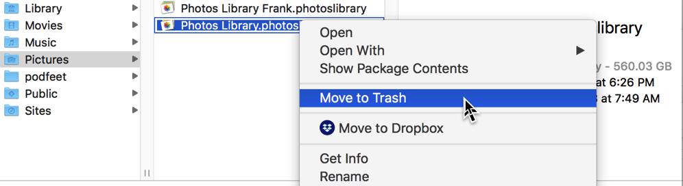 Photos move library to trash