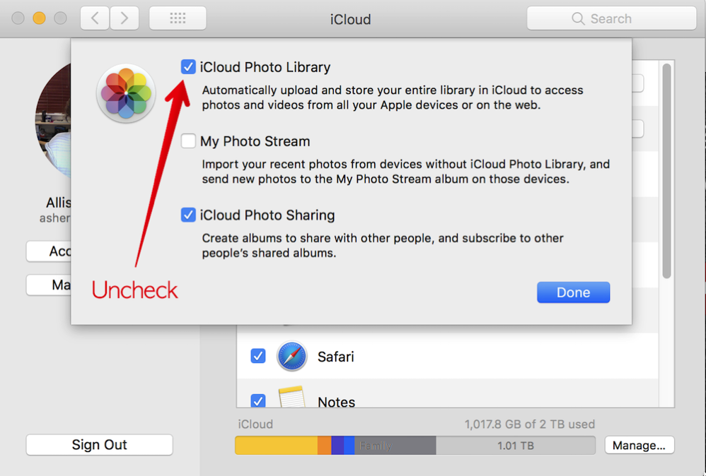 Uncheck iCloud Photo Library in System Preferences