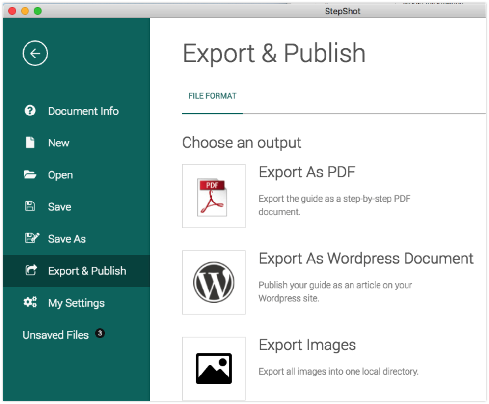 StepShot Guides Export and Publish Options