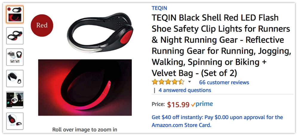 TEQIN Black Shell Red LED Flash Shoe Safety Clip Lights