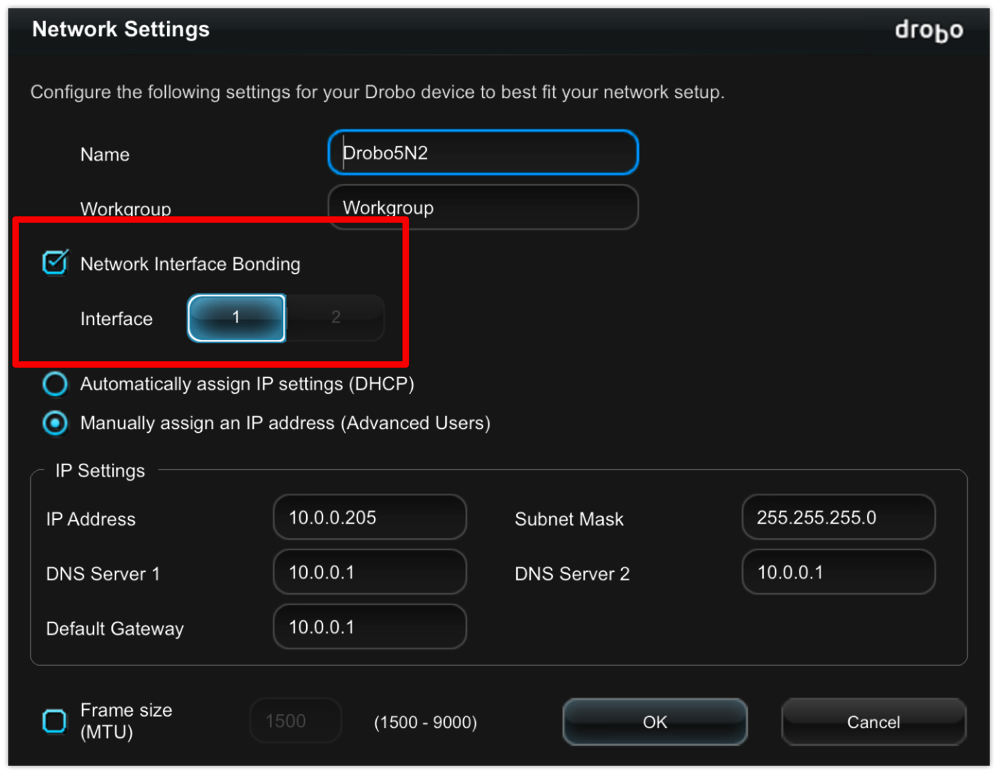 Drobo 5N2 Network Interface Bonding