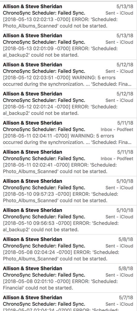 Chronosync failures