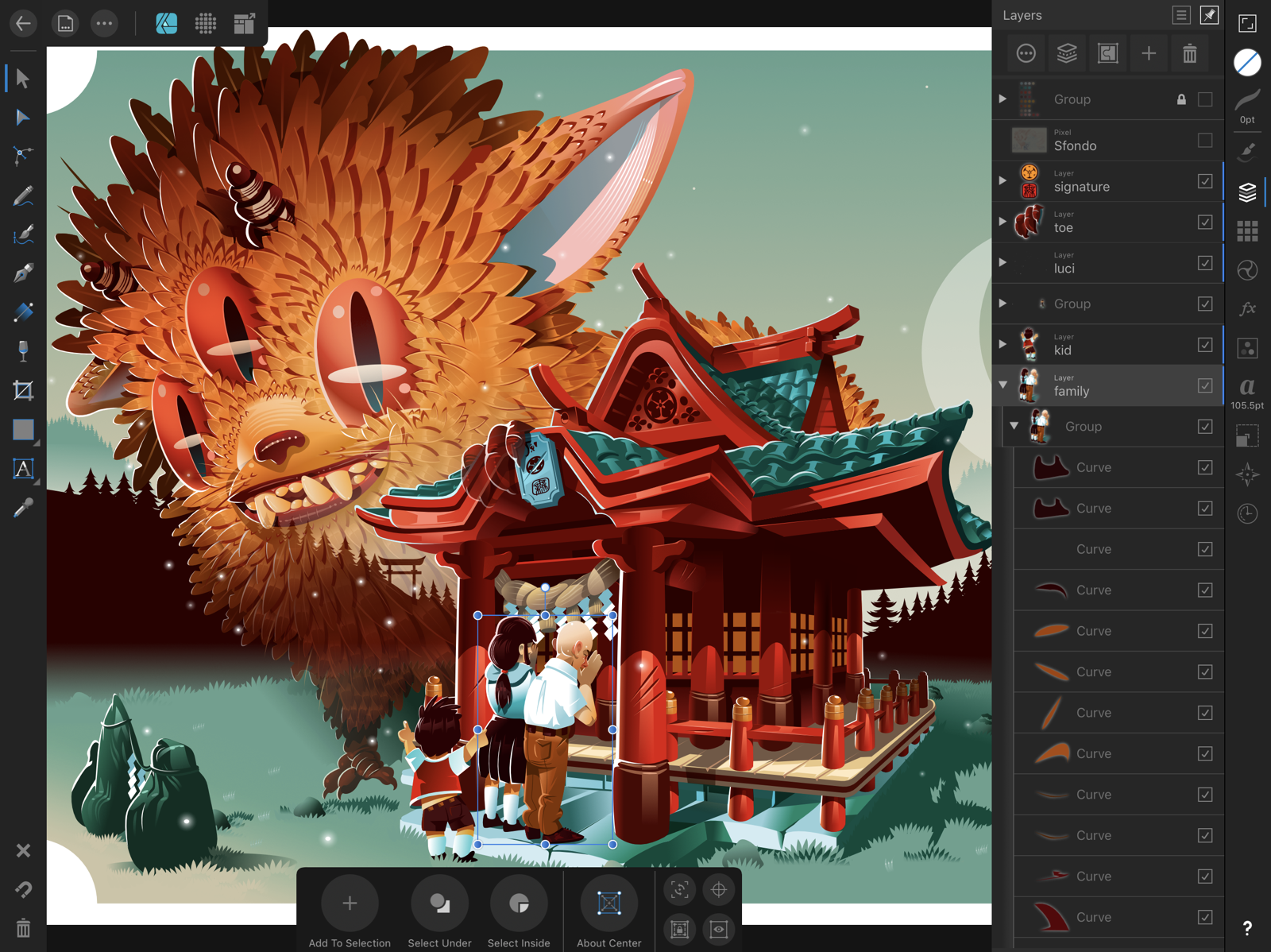 Affinity Designer example image with layers open