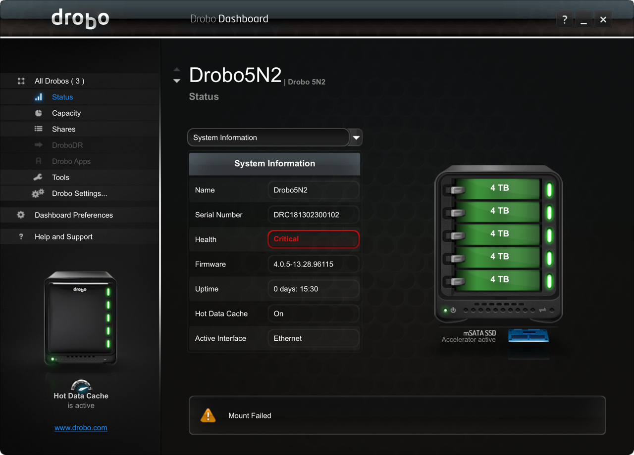 Drobo Critical failure