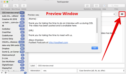 TextExpander Preview button