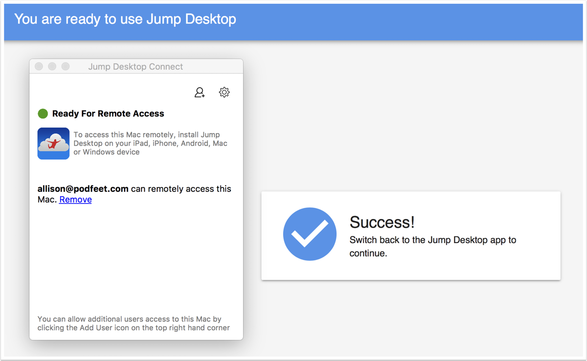 Jump desktop connect ready for remote access