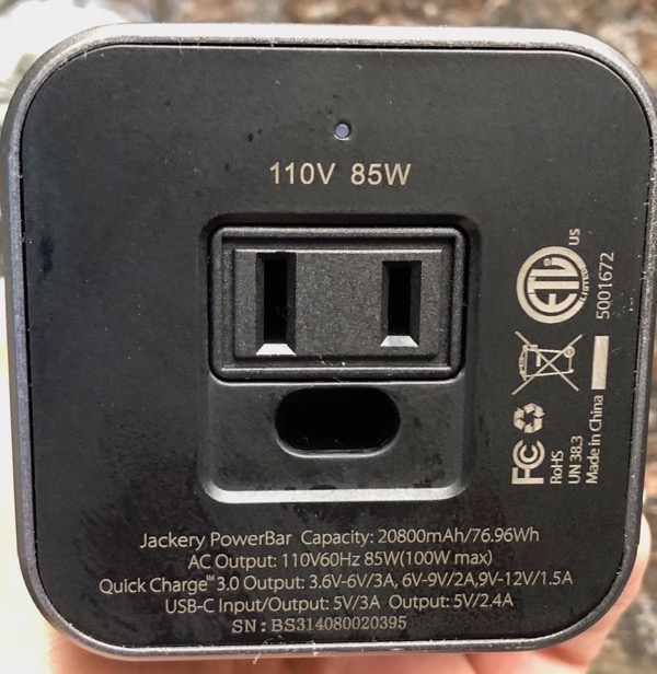 Jackery PowerBar AC outlet end
