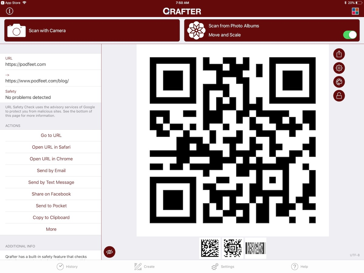 Qrafter barcode for podfeet URL