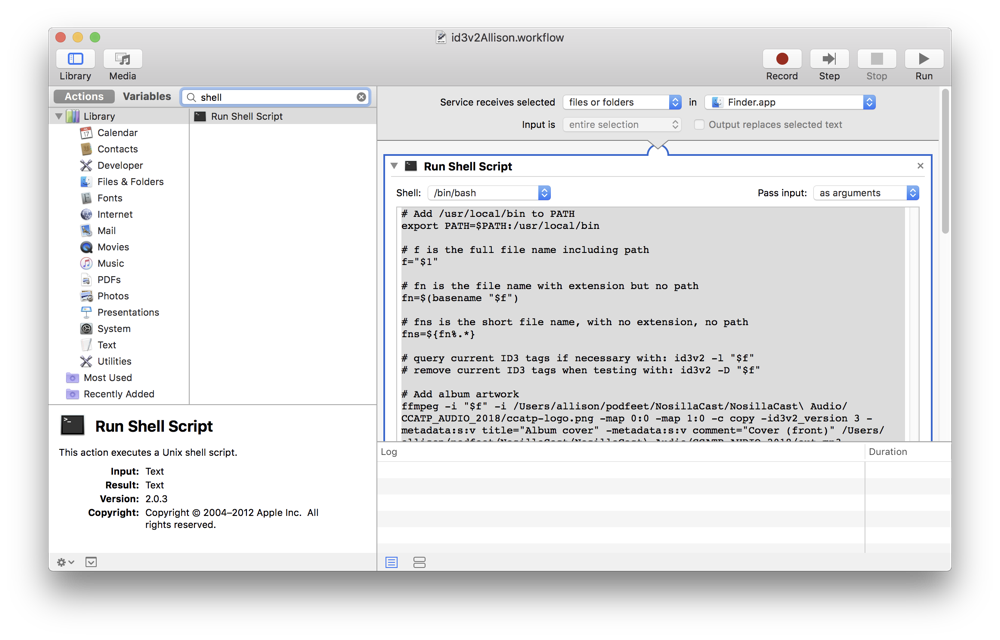 Automator workflow with bash shell script