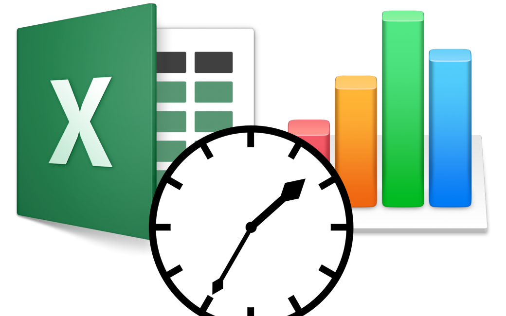 Excel and Numbers logo plus clock