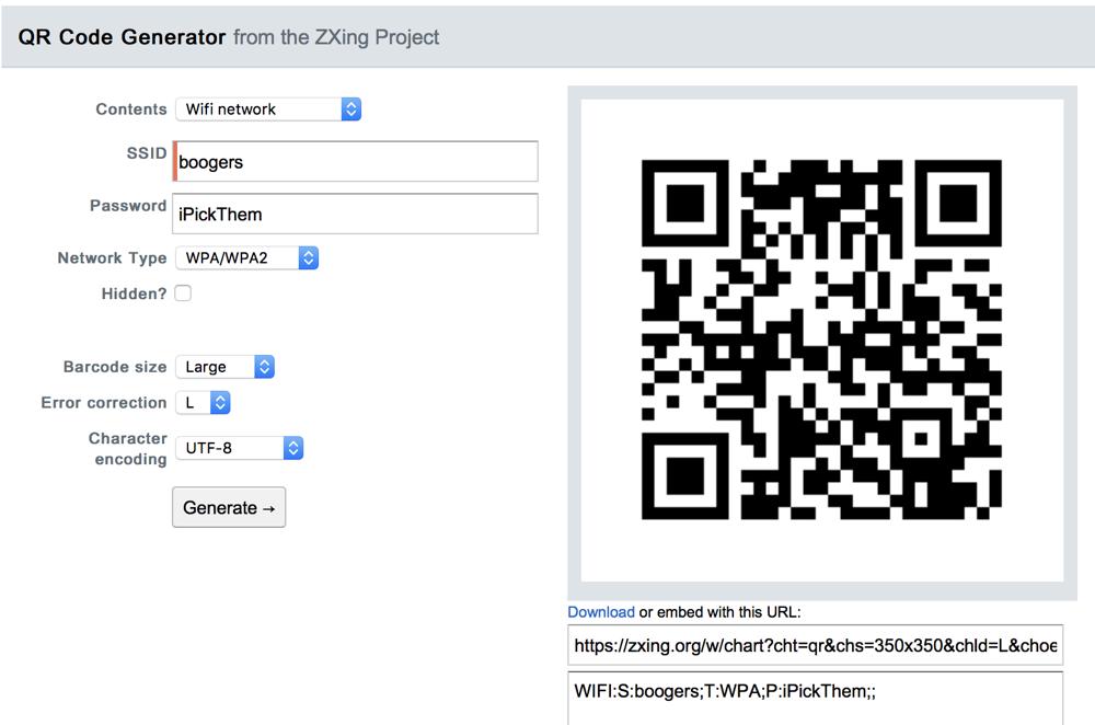 Zxing qr code generator showing boogers SSID