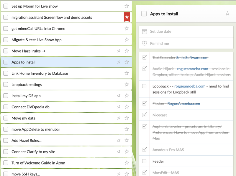 Wunderlist partial lists