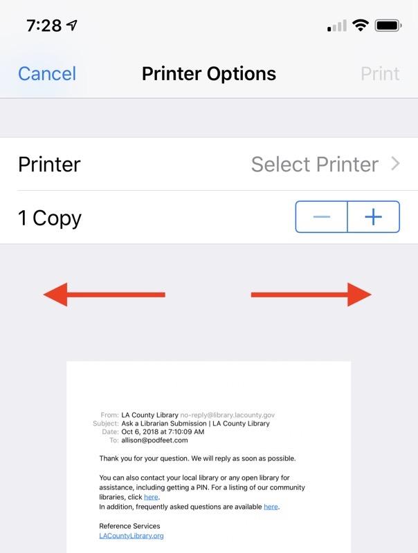 01B Markup printer menu