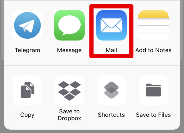 02 Markup emails iOS choose Mail