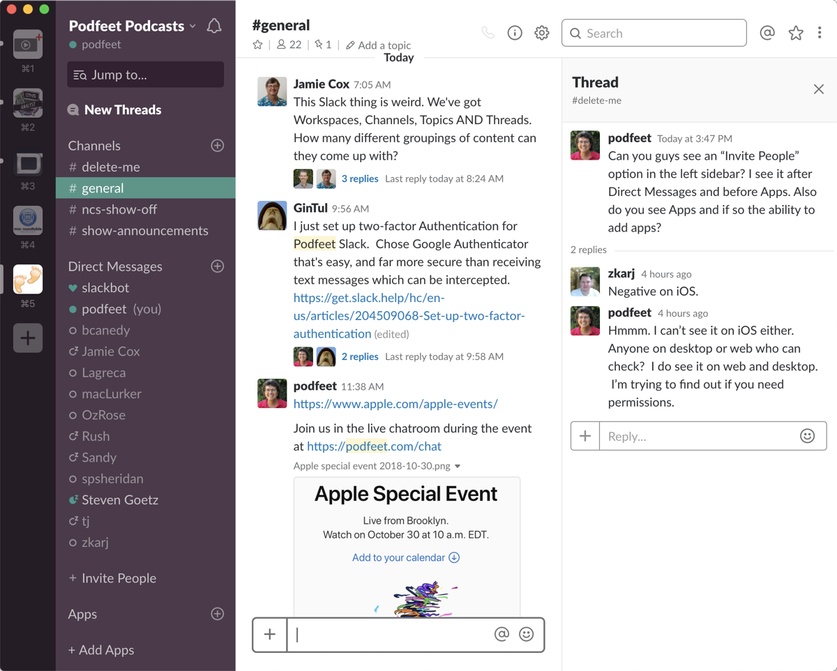 Slack Podfeet Podcasts
