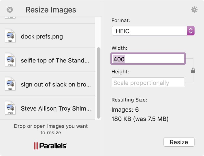 Parallels Toolbox Resize Images