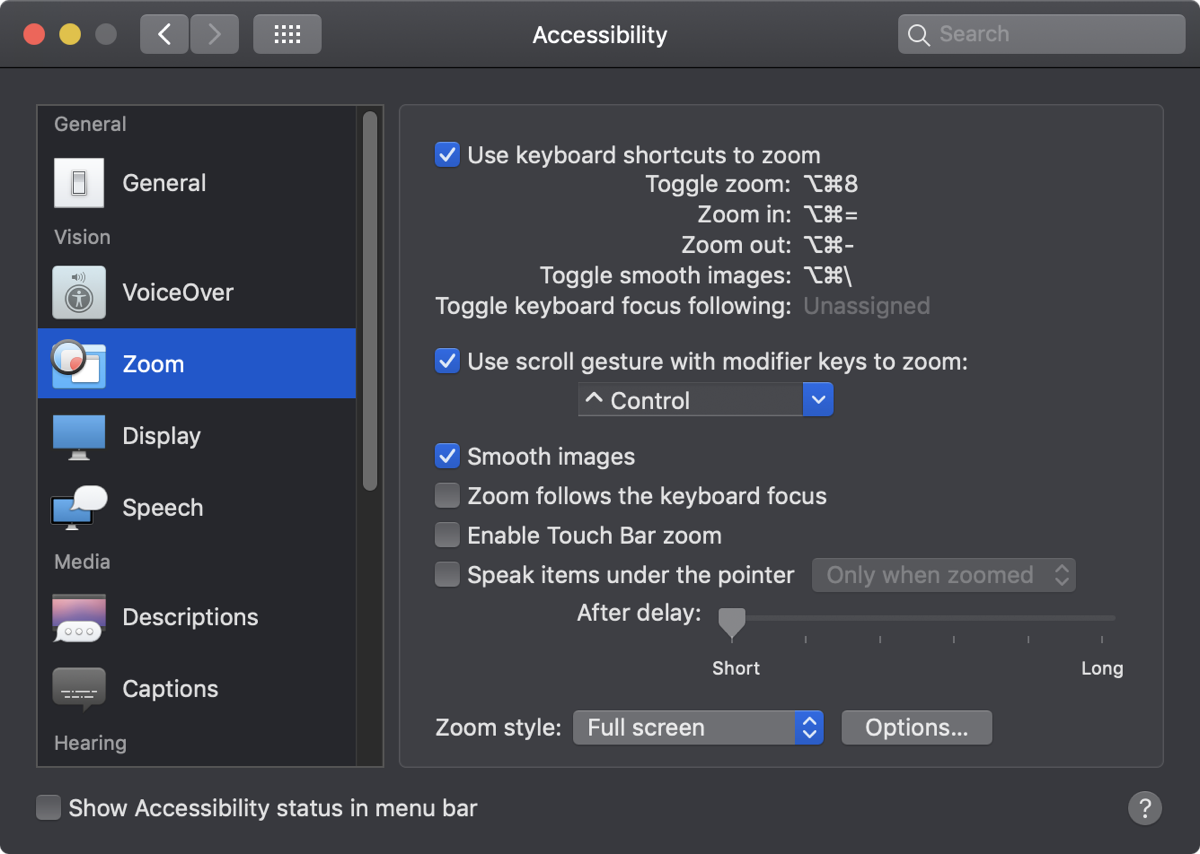 Mac zoom accessibility control