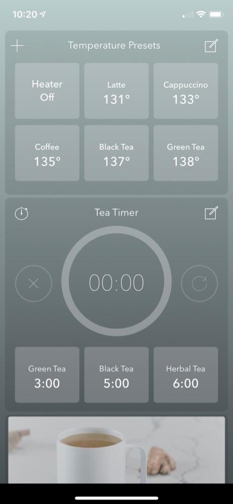 Ember temperature setpoints