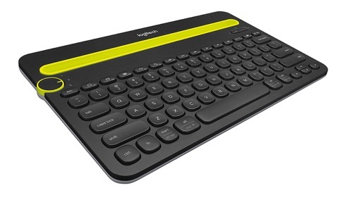 Logitech K480 keyboard with rounded keys and a green slot for your device