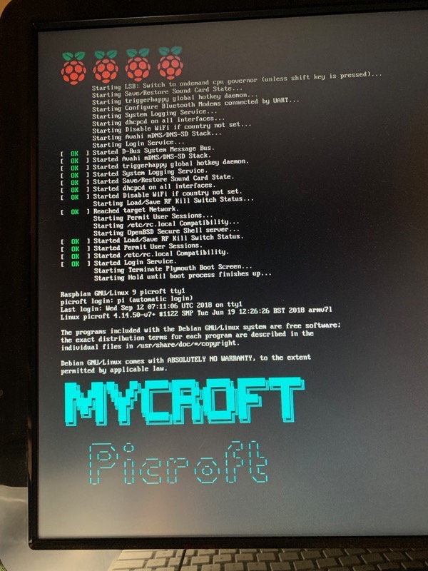 Mycroft Picroft screen showing Debian