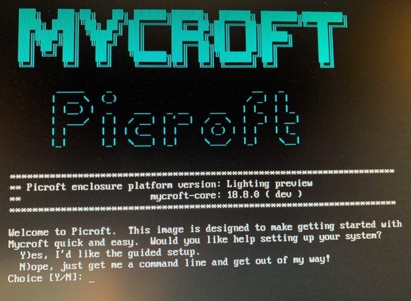 Mycroft Picroft setup screen
