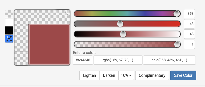 Hex color tool showing sliders