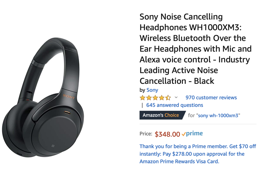 Sony WH-1000XM3 Wireless Noise Cancelling Headphones — by