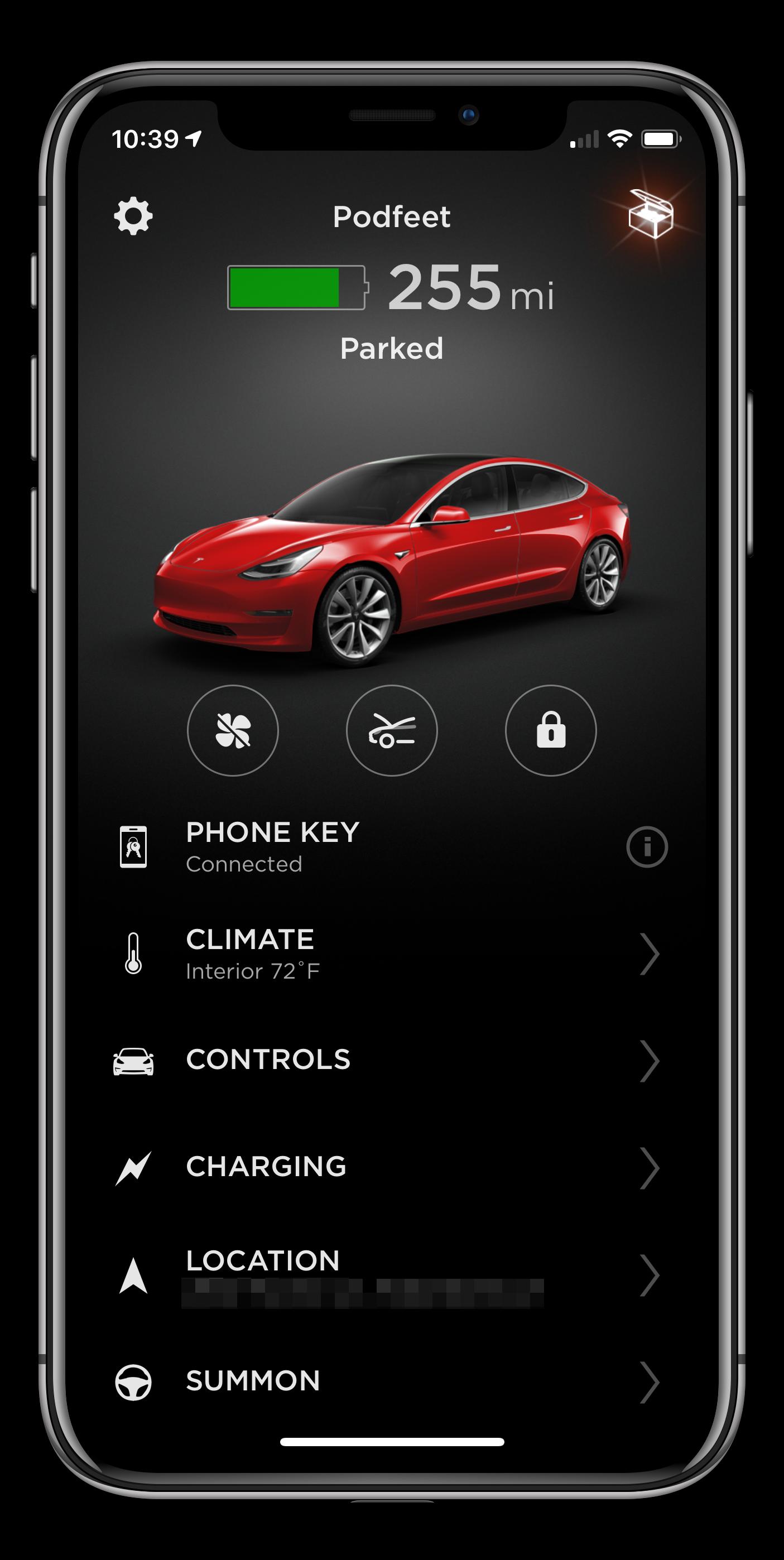 Tesla App home screen