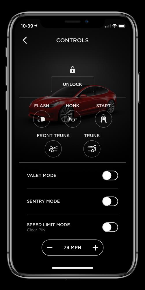 Tesla app controls screen