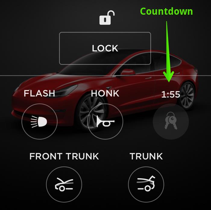 Tesla app countdown on keyless driving