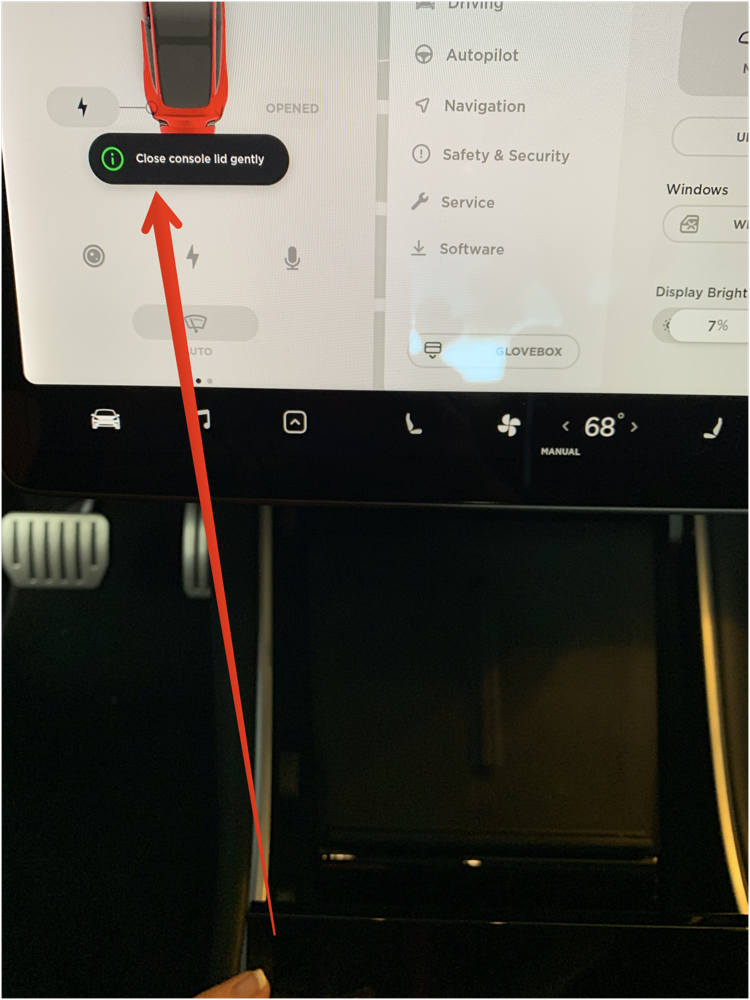 Tesla Model 3 close console lid gently