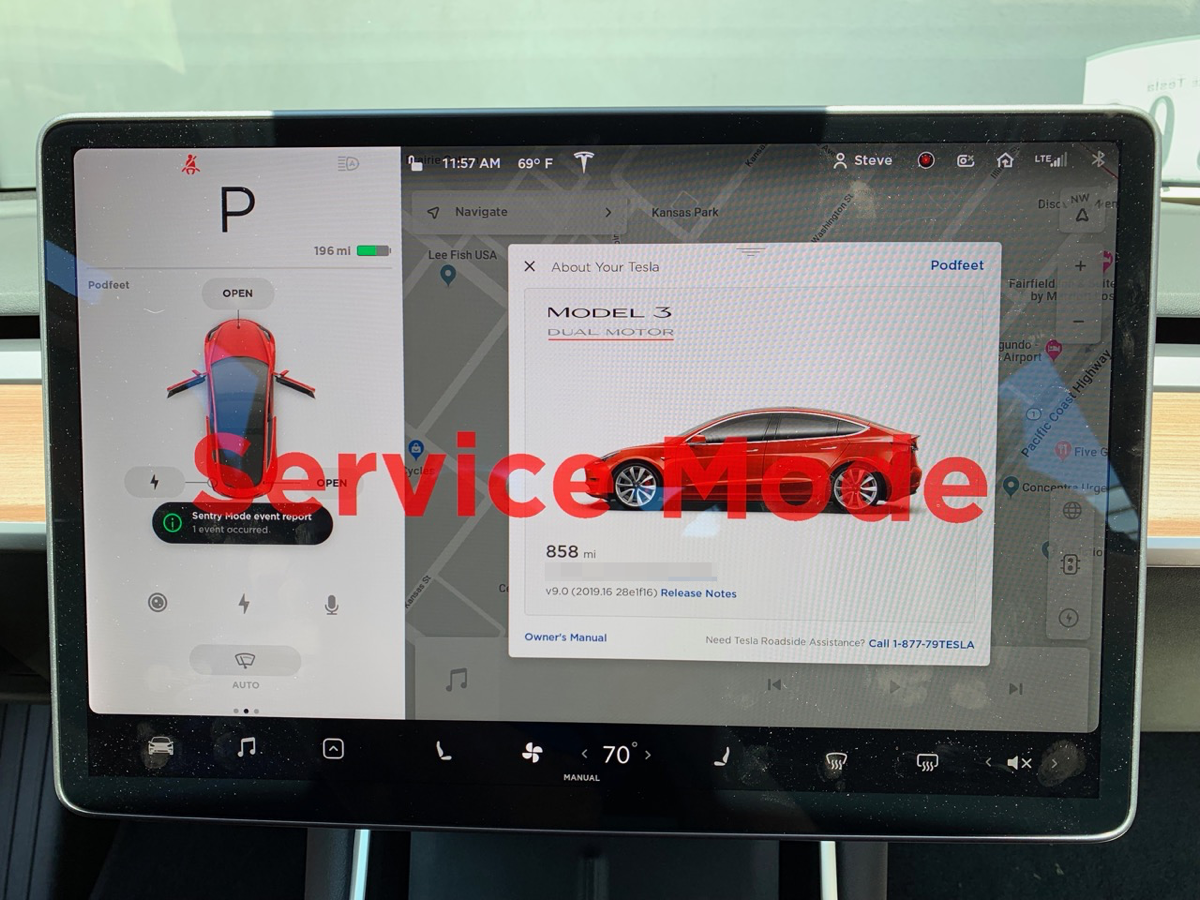Tesla Model 3 in Service Mode