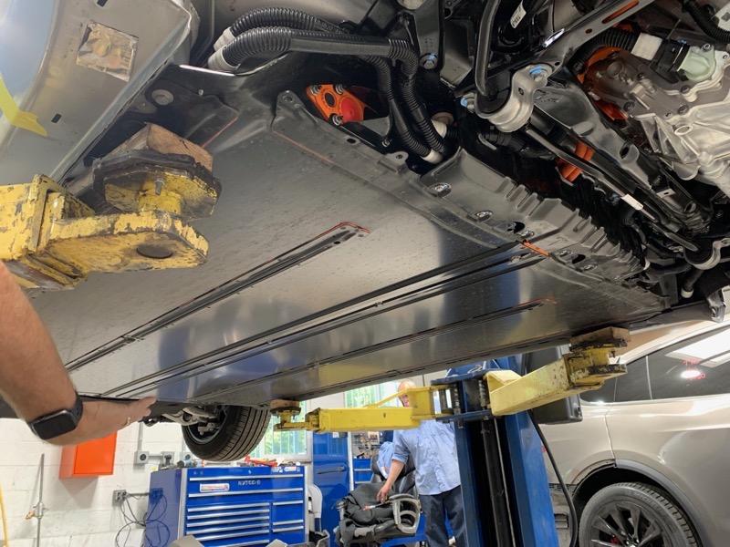 Tesla battery from underneath