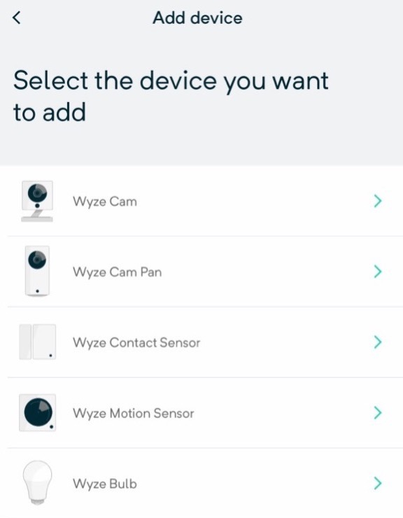 WYZE select device to add