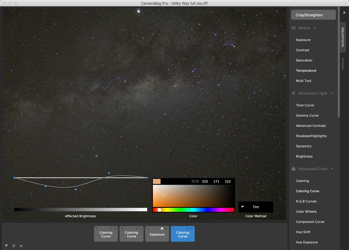 Camerabag coloring curve