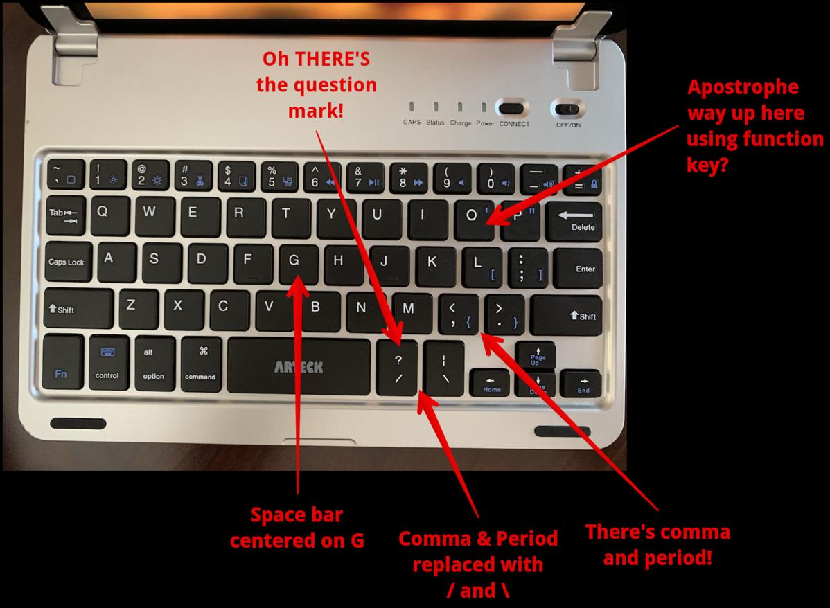 Arteck keyboard keys placement