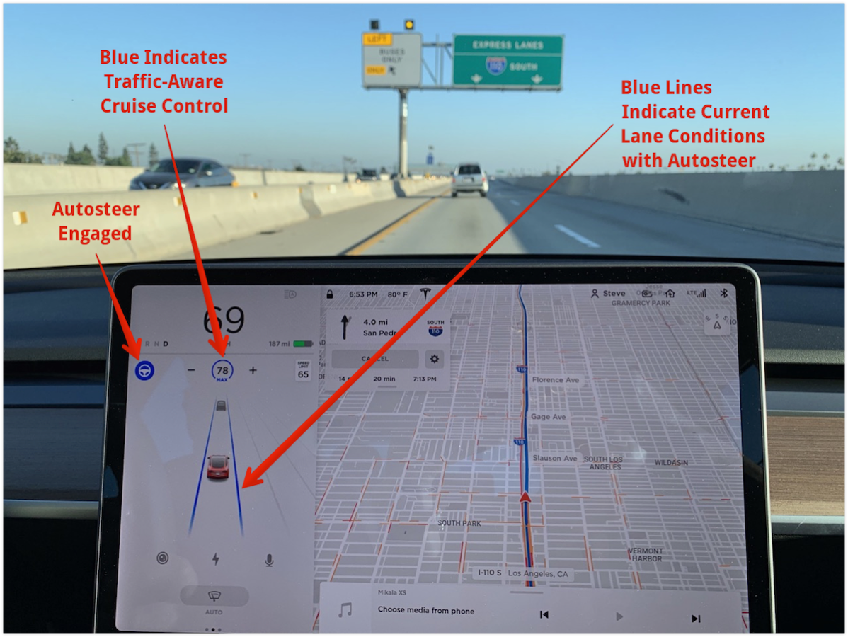 Model 3 Screen Indicating Autosteer and Traffic Aware Cruise Control