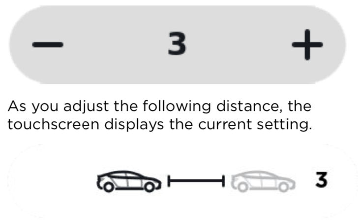 Tesla time based distance setting