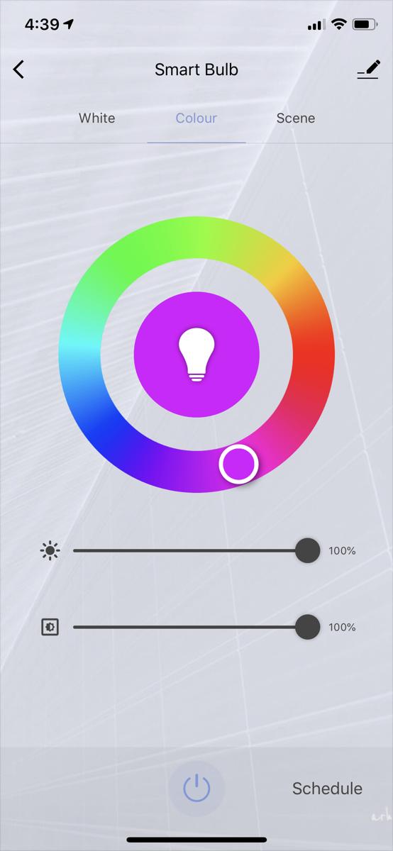 Reafoo smart bulb color controls