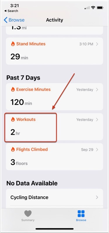 Select Workouts Under Activity