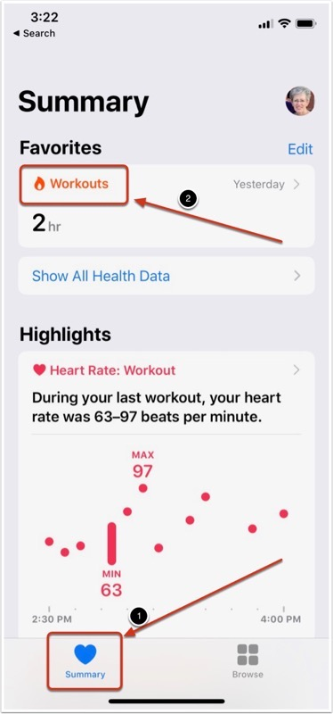 Delete: Select Workouts from Summary