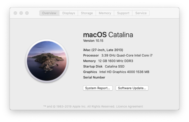 Catalina About this iMac