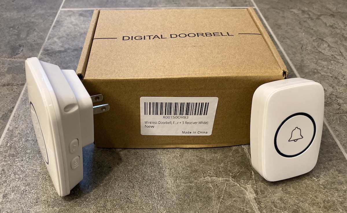 Digital Doorbell Two White Devices with Box